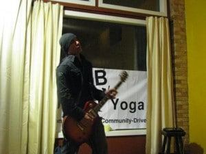 A guitarist performs during an open mic evening at Just B Yoga. (Back in the day!)