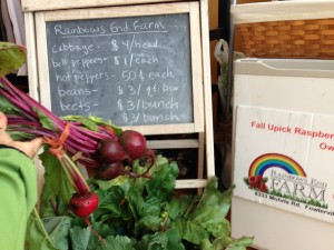 Fresh produce offered at Just B Yoga by local farmers. Why sell power bars and vitamin water?