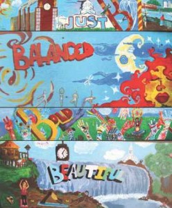 Mural panels created by youth artists from REACH Studio Arts.