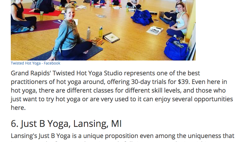 Best in Michigan: Just B Yoga