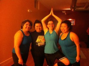 Just B Yoga Peanut Gallery, Dali, Bernadette, LJ and Christina.