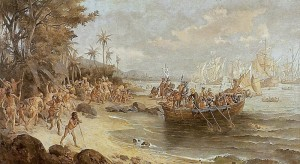 Oscar Pereira da Silva's 1902 portrayal of Cabral's arrival in Brazil.