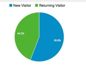 new and returning visitor pie chart