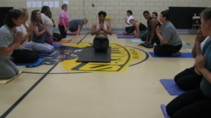 Here I am teaching the first Just B Yoga classes in 2010 at the Shabazz Academy.