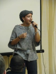 """Lyric Lee, performing """"You Will"""" at Just B Yoga in 2011."""