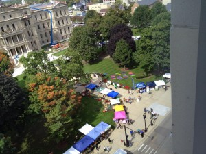Just B Yoga mats seen from above at the Farmers Market at the Capitol last Friday.