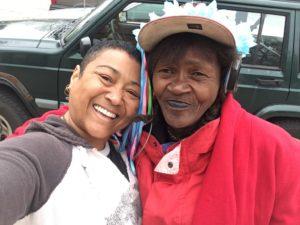 """Belinda (left) with Brenda (right), May 2019. Brenda's wisdom? """"All God's children got the hook up."""""""